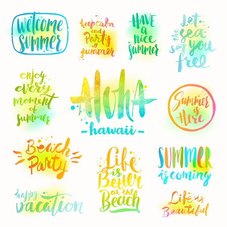 Vector set of hand drawn calligraphy summer holidays and vacation summer holidays and vacation quotes phrases and greetings set of calligraphy vector m4hsunfo