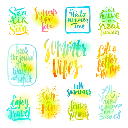 holiday vacation: Summer holidays and vacation greetings, quotes and phrases. set ofcalligraphy. Illustration