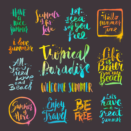 sketch out: Summer holidays and vacation quotes, phrases and greetings. set of  calligraphy. Illustration