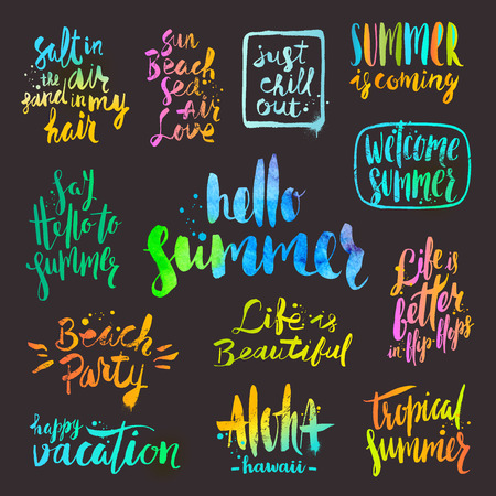 phrases: set of  calligraphy. Summer holidays and vacation phrases and greetings.