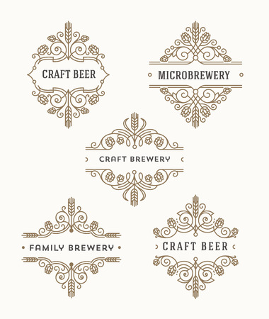 microbrewery: Set of craft beer and microbrewery flourishes emblems and logo - vector illustration Illustration