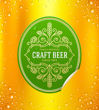 microbrewery: Green beer label with flourishes emblem on a yellow beer glass background - vector illustration