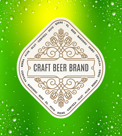 hop cone: Beer label with flourishes emblem on a green beer glass background - vector illustration