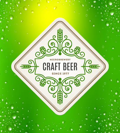 Beer label with flourishes emblem on a green beer glass background - vector illustration