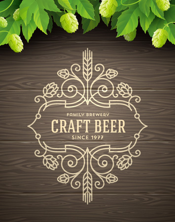 microbrewery: Green hops and flourishes beer emblem on a wooden plank background - vector illustration Illustration