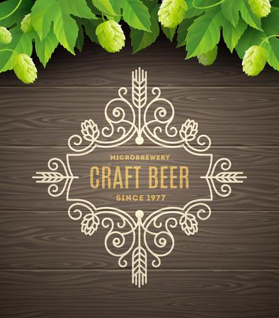 Green hops and flourishes beer emblem on a wooden plank background - vector illustration Illustration