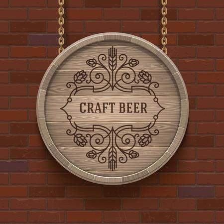 microbrewery: Wooden cask signboard with flourishes beer emblem - vector design illustration Illustration