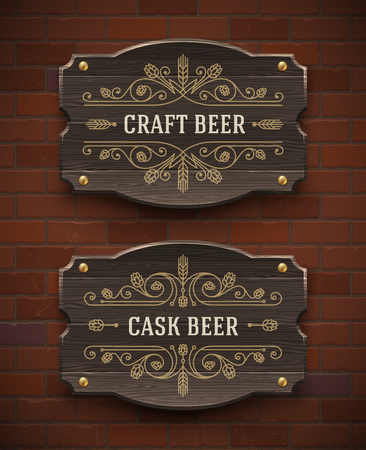 pubs: Old wooden signboards with craft beer flourish emblem - vector illustration