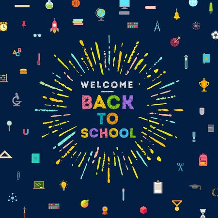 elementary school: Welcome back to school greeting with multicolored sunburst  a background with school objects and supplies