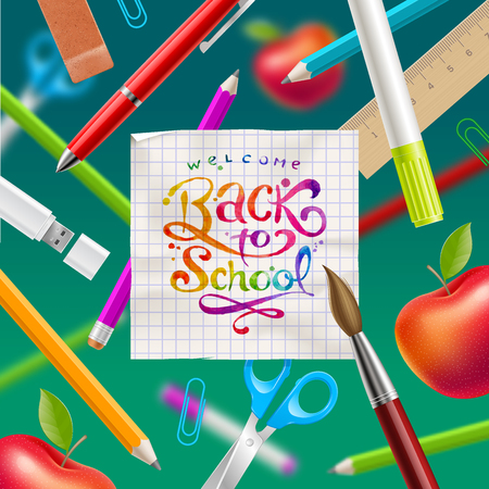 hand colored: Back to school  - greeting vector illustration with watercolor colorful lettering and stationery items Illustration
