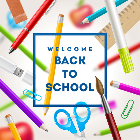 Back to school greeting - vector illustration with stationery items Illustration