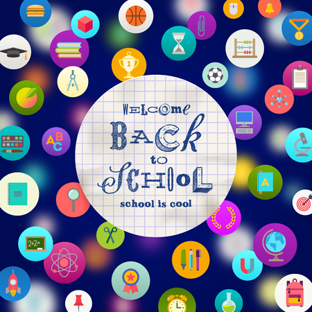 objects paper: Welcome back to school  - paper banner with hand drawn greeting on a background with school objects and supplies icons