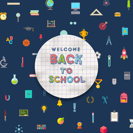 objects paper: Welcome back to school  - greeting paper banner on a background with school objects and supplies