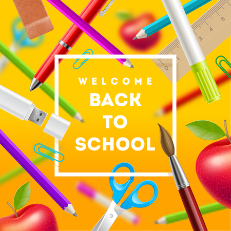 stationery items: Back to school greeting - vector illustration with stationery items Illustration