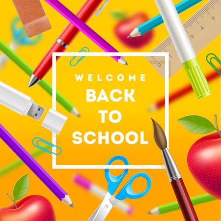 papeleria: Volver a la escuela saludo - ilustración vectorial con artículos de papelería