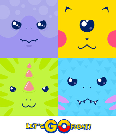 pocket: Vector set - square faces of little combat monsters