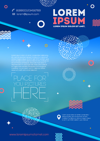 folders: Vector illustration - Template page design with abstract shape and elements