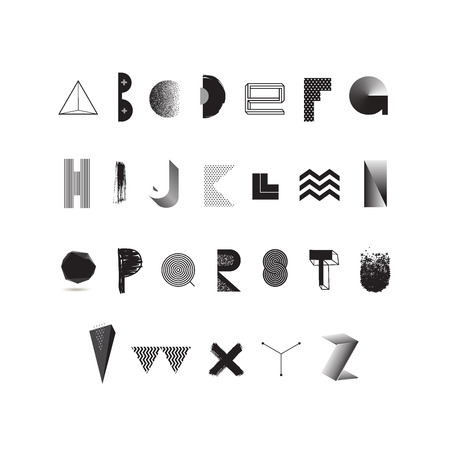 stippled: Vector black and white alphabet. Modern typeface made from different abstract shape and textures. Font set. Illustration