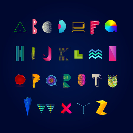 stippled: Vector vibrant multicolored alphabet. Modern typeface made from different abstract shape, textures and gradient. Font set. Illustration