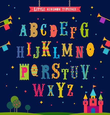 old english: Little kingdom - Cartoon multicolored alphabet. Retro style ornate typeface. Vector illustration. Font set.