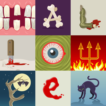 compiled: Halloween greeting vector illustration. Any letter is an Halloween signs or symbols