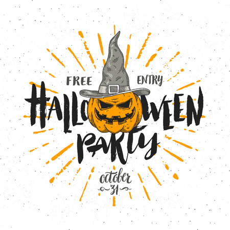 Halloween party invitation with pumpkin in a witch hat - vector illustration with hand drawn type calligraphy design.