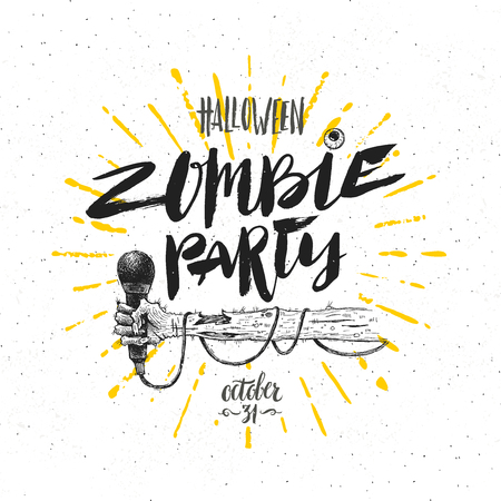 Zombie party - vector illustration. Halloween greeting card, poster or invitation with hand drawn illustration and calligraphy.