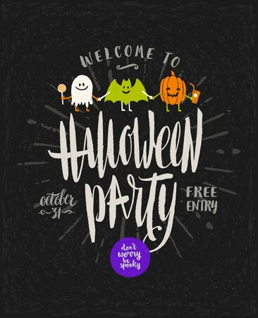 Halloween vector hand drawn illustration. Invitation or greeting card with Halloween sign and symbols and calligraphy.