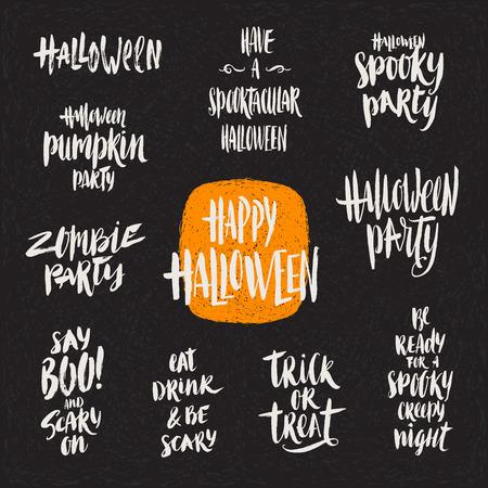hand illustration: Halloween vector illustration. Set of hand drawn brush calligraphy for Halloween greeting, invitation or poster. Illustration