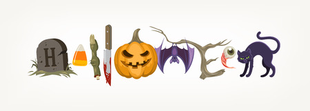 compiled: Halloween holiday greeting compiled from halloween objects or symbols. Vector illustration. Illustration