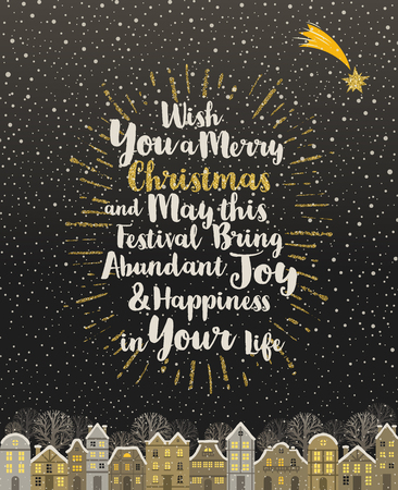 glittering: Christmas greeting card - Calligraphy type design with glitter gold sunburst and snowbound  winter town Illustration