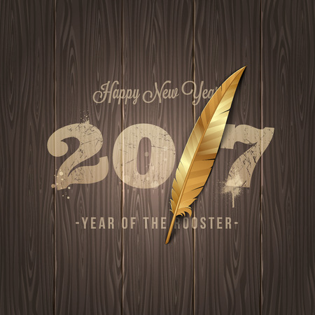 New years greeting with golden feather of a rooster on a wooden surface - vector illustration