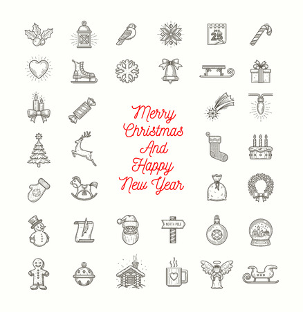 Vector set of Christmas line art icons