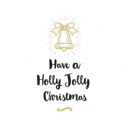 hand bell: Christmas greeting card - Calligraphy greeting and glitter gold hand bell. Illustration