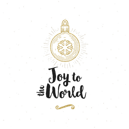 Christmas greeting card - Calligraphy greeting and glitter gold Christmas ball with snowflake.