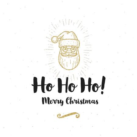 ho: Christmas greeting card - Calligraphy greeting and glitter gold Santa Claus. Illustration
