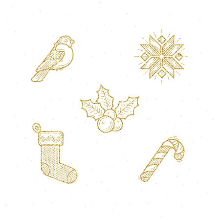christmas symbol: Vector icon set with Christmas glitter gold sign and symbol