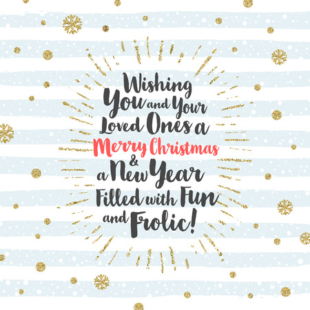 december holidays: Christmas greeting card with calligraphic type design, glitter gold  sunburst and snowflakes
