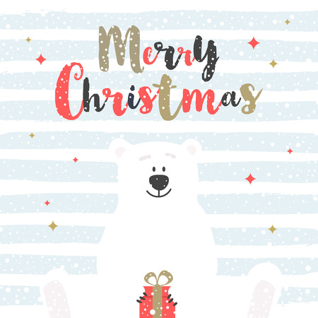 Cute cartoon polar bear with holiday gift. Christmas greeting card. Vector illustration.