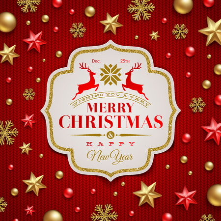 christmas celebration: Christmas greeting - Frame with type design and Christmas decoration on a knitting red background Illustration