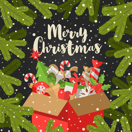 Vector Christmas illustration - Calligraphy greeting and cardboard box with Christmas gifts on a fir branches background.