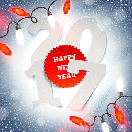 New years greeting illustration -  paper year number and Christmas light garland on a snow Illustration