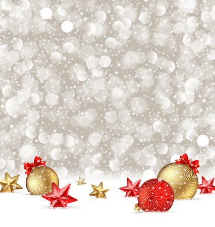 christmas celebration: Vector Christmas greeting illustration with baubles and stars on a snow.