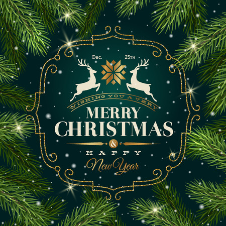 gold tree: Christmas greeting card - Type design with glitter gold frame on a Christmas tree branches background Illustration