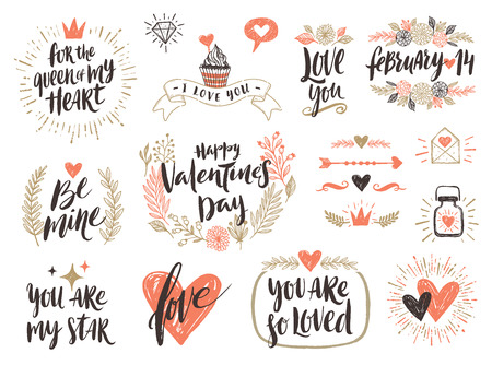 diamond letters: Valentines day hand drawn calligraphy and illustration vector set