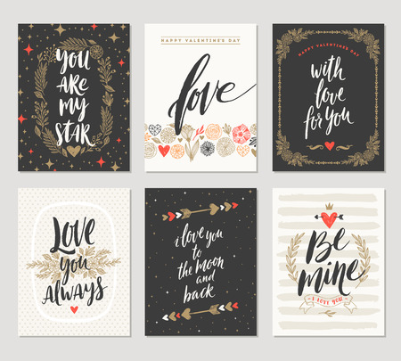 painting: Vector set of Valentines Day hand drawn posters or greeting card with handwritten calligraphy quotes, phrase and illustrations.