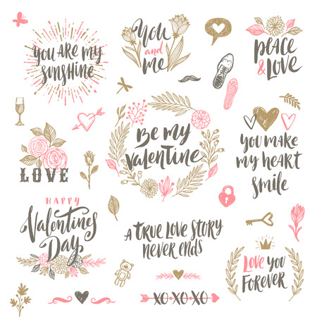 painting: Valentines day hand drawn calligraphy and illustration vector set