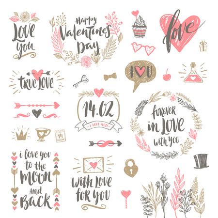 conjunto de caligrafía e ilustración del vector drenada mano del día de San Valentín