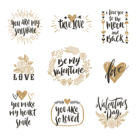 Valentine's day hand drawn calligraphy and illustration vector set Illusztráció