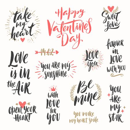 letter: Valentines day hand drawn calligraphy and illustration vector set